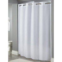 Hookless White Embossed Moire Shower Curtain with Matching Flat Flex-On Rings and Weighted Corner Magnets - 71 inch x 77 inch