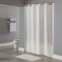 Hookless Beige Plainweave Shower Curtain with Matching Flat Flex-On Rings and Weighted Corner Magnets - 71 inch x 77 inch