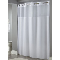 Hookless White Mystery Shower Curtain with Matching Flat Flex-On Rings, Weighted Corner Magnets, and Poly-Voile Translucent Window - 71 inch x 74 inch