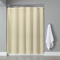 Hooked Beige Basic Polyester Shower Curtain with Buttonhole Header - 72 inch x 72 inch