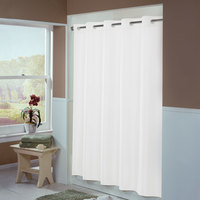 Hookless White Englewood Shower Curtain with Matching Flat Flex-On Rings and Weighted Corner Magnets - 71 inch x 77 inch
