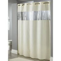 Hookless Beige View From The Top Shower Curtain with Matching Flat Flex-On Rings, Weighted Corner Magnets, and Vinyl Window - 71 inch x 74 inch