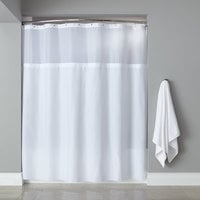 Hooked White Polyester Premium Shower Curtain with Buttonhole Header, Sheer Voile Window, and Grommets - 71 inch x 72 inch