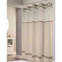 Hookless Sand with Brown Stripe Escape Shower Curtain with Chrome Raised Flex-On Rings, It's A Snap! Polyester Liner with Magnets, and Poly-Voile Translucent Window - 71 inch x 74 inch