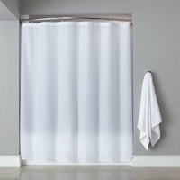 Hooked White Basic Nylon Shower Curtain with Buttonhole Header - 72 inch x 72 inch