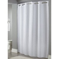 Hookless White Litchfield Shower Curtain with Matching Flat Flex-On Rings and Weighted Corner Magnets - 71 inch x 77 inch
