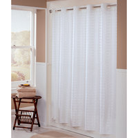Hookless HBH43LIT01X White Litchfield Shower Curtain with Matching Flat Flex-On Rings and Weighted Corner Magnets - 71 inch x 77 inch
