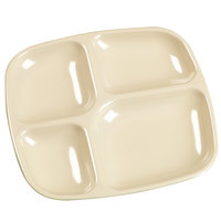 Carlisle 4398625 10 inch x 9 3/4 inch Tan Melamine 4 Compartment Server Tray