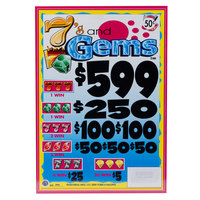 7s and Gems 5 Window Pull Tab Tickets - 3996 Tickets Per Deal - Total Payout: $1399