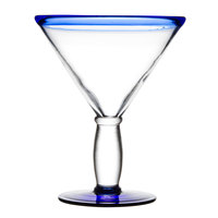 Libbey 92305 Aruba 10 oz. Cocktail Glass with Cobalt Blue Rim and Base - 12 / Case