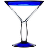 Libbey 92306 Aruba 15 oz. Cocktail Glass with Cobalt Blue Rim and Base - 12 / Case