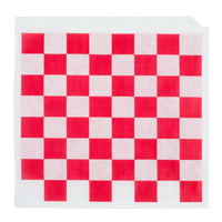 Choice 7 inch x 6 1/2 inch Red Check Wire Cone Basket Liner / Deli Wrap / Double Open Bag - 2000 / Case