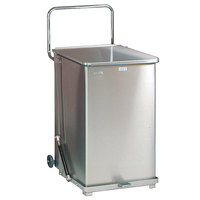 Rubbermaid FGST40 The Defenders Stainless Steel Square Medical Step Can with Wheels and Retainer Bands 40 Gallon - (FGST40SSRB)