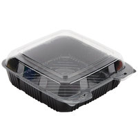 Par-Pak 29579 9 inch x 9 inch PET Black and Clear Hinged Take-out Container - 200/Case