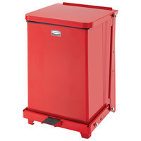 Rubbermaid FGST7E The Defenders Steel Square Red Medical Step Can with Rigid Plastic Liner 7 Gallon - (FGST7EPLRD)