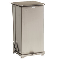 Rubbermaid FGQST40 The Silent Defenders Square Stainless Steel Quiet Step Can with Rigid Plastic Liner 40 Gallon (FGQST40SSPL)