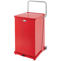 Rubbermaid FGST40EW The Defenders Steel Square Red Medical Step Can with Wheels and Retainer Bands 40 Gallon - (FGST40EWRBRD)