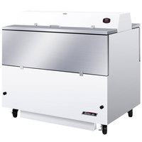 Turbo Air TMKC-49D-WS 49 inch Dual Sided White Vinyl and Stainless Steel Milk Cooler - 115V