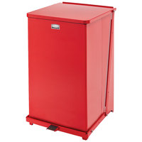Rubbermaid FGST40E The Defenders Steel Square Red Medical Step Can with Rigid Plastic Liner 40 Gallon - (FGST40EPLRD)