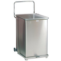 Rubbermaid FGST40 The Defenders Stainless Steel Square Medical Step Can with Wheels and Rigid Plastic Liner 40 Gallon - (FGST40SSPL)