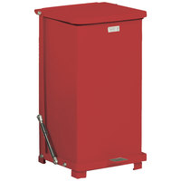 Rubbermaid FGQST24E The Silent Defenders Red Square Steel Quiet Step Can with Rigid Plastic Liner 24 Gallon (FGQST24EPLRD)