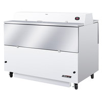 Turbo Air TMKC-58D-WA 58 inch Dual Sided White Vinyl and Stainless Steel Milk Cooler - 115V