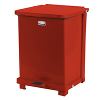 Rubbermaid FGQST40E The Silent Defenders Red Square Steel Quiet Step Can with Retainer Bands 40 Gallon (FGQST40ERBRD)