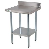 Regency 18 Gauge 24 inch x 24 inch 304 Stainless Steel Commercial Work Table with 4 inch Backsplash and Undershelf
