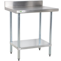 Regency 24 inch x 30 inch 18-Gauge 304 Stainless Steel Commercial Work Table with 4 inch Backsplash and Galvanized Undershelf