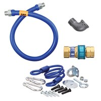 36 inch Dormont 16125BPQR Safety System Gas Connector Kit with SnapFast Quick Disconnect and Coiled Restraining Device - 1 1/4 inch Diameter