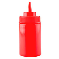 12 oz. Red Wide Mouth Squeeze Bottle - 6 / Pack