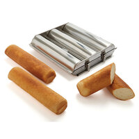 Matfer 341713 Stainless Steel Round Bread Mold with (3) 1 3/4 inch Compartments