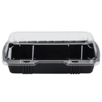 Par-Pak 29565 8 inch x 4 inch x 3 inch PET Black and Clear Hinged Hoagie / Sub Take-Out Container - 25/Pack