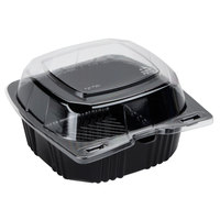 Polar Pak 29567 5 inch x 5 inch PET Black and Clear Hinged Take-out Container - 20/Pack