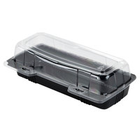 Par-Pak 29566 9 inch x 4 inch x 3 inch PET Black and Clear Hinged Hoagie / Sub Take-Out Container - 250 / Case