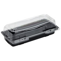 Polar Pak 29566 9 inch x 4 inch x 3 inch PET Black and Clear Hinged Hoagie / Sub Take-Out Container - 250/Case