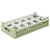 Vollrath 52810 Signature Half-Size Light Green 10-Compartment 4 1/8 inch Short Rack
