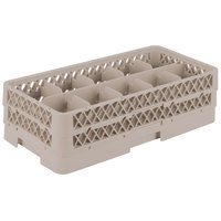 Vollrath HR1C1C Traex Half-Size Beige 10 Compartment 5 1/2 inch Tall Glass Rack