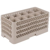 Vollrath HR1C1CCC Traex Half-Size Beige 10 Compartment 9 1/16 inch Tall Glass Rack