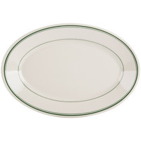 Homer Laughlin 1570001 Green Band Rolled Edge 13 3/8 inch Oval Platter - 12 / Case
