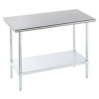 16 Gauge Advance Tabco ELAG-305 30 inch x 60 inch Stainless Steel Work Table with Galvanized Undershelf