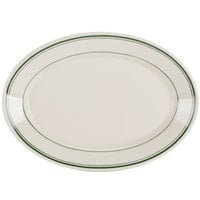Homer Laughlin 1540001 Green Band Rolled Edge 10 1/2 inch Oval Platter - 24 / Case
