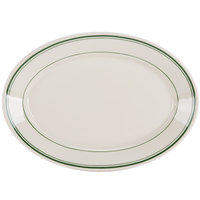 Homer Laughlin 1540001 Green Band Rolled Edge 10 1/2 inch Oval Platter - 24/Case