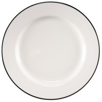 Homer Laughlin 6396030 Pristine with Kerry Black Rim 10 5/8 inch Round China Plate - 12 / Case