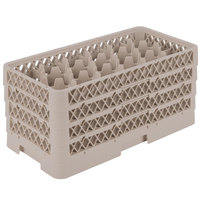 Vollrath HR1D1DDD Traex Half-Size Beige 17 Compartment  9 1/16 inch Tall Glass Rack