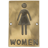 Tablecraft 465634 6 inch x 4 inch Bronze Women Sign