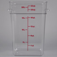 Cambro 22SFSCW135 22 Qt. Clear Square Polycarbonate Food Storage Container with Winter Rose Gradations