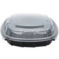 51 oz. Black 9 inch x 9 inch x 3 inch Microwaveable Plastic Hinged Take-Out Container - 28 / Pack