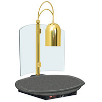 Hatco DCSB400-R24-1 Single Lamp Decorative Carving Station with Night Sky-Colored Round Heated Base and Bright Brass Finish - 120V, 600W