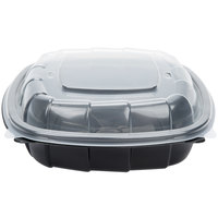 39 oz. Black 8 inch x 8 inch x 3 inch Microwaveable Plastic Hinged Take-Out Container - 46 / Pack